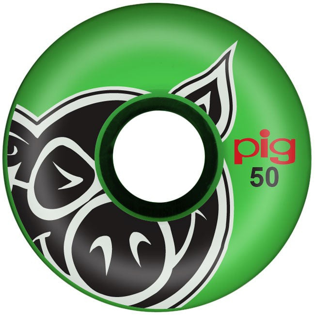 Pig Pighead - Green - 50mm - Skateboard Wheels (Set of 4)