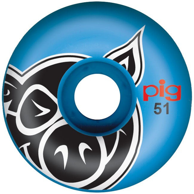 Pig Pighead - Blue - 51mm - Skateboard Wheels (Set of 4)