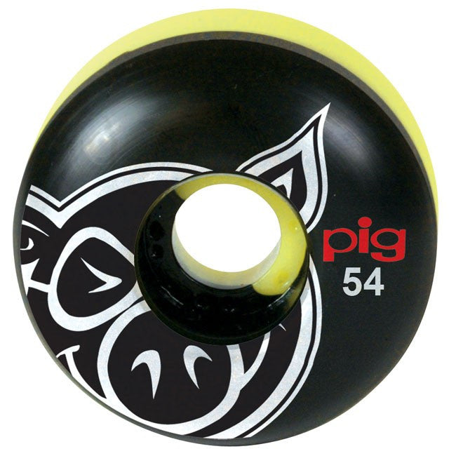 Pig Pighead Speedline - Black/Yellow Swirl - 54mm - Skateboard Wheels (Set of 4)