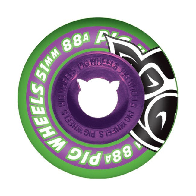 Pig Street Cruiser II - Green w/ Purple Core - 51mm 88a - Skateboard Wheels (Set of 4)