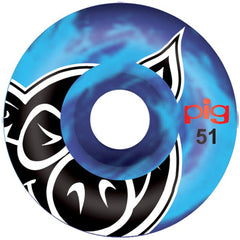 Pig Head Swirl - Blue - 51mm 101a - Skateboard Wheels (Set of 4)