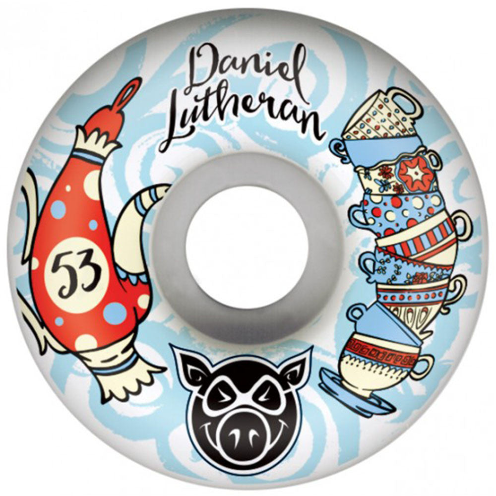 Pig Dan Lu Tea Cup - White - 53mm - Skateboard Wheels (Set of 4)