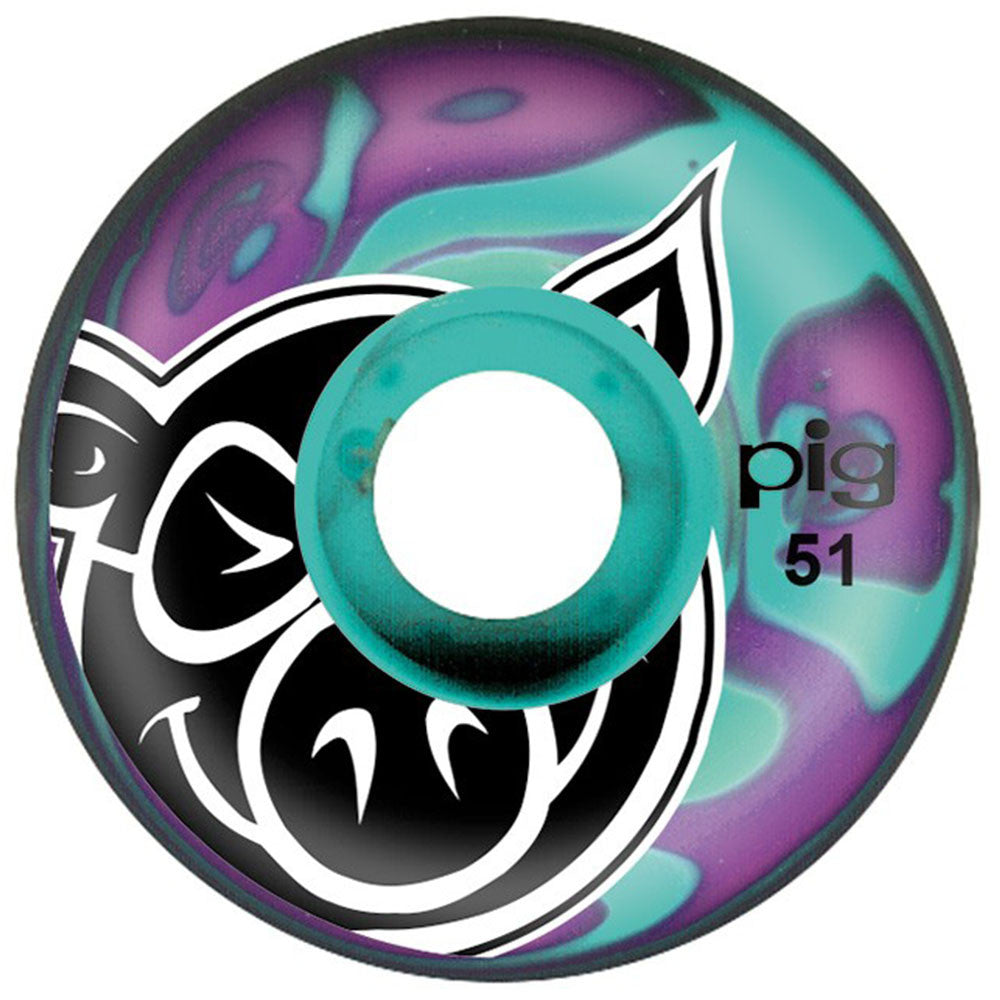 Pig Head Swirls - Purple/Teal - 51mm - Skateboard Wheels (Set of 4)