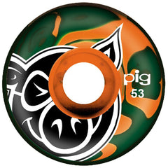 Pig Head Swirls - Forest/Orange - 53mm - Skateboard Wheels (Set of 4)