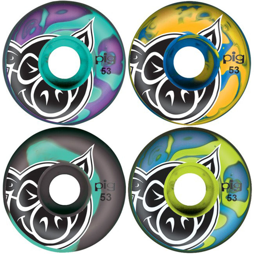 Pig Head Swirls Mashed Up - Multi - 53mm - Skateboard Wheels (Set of 4)