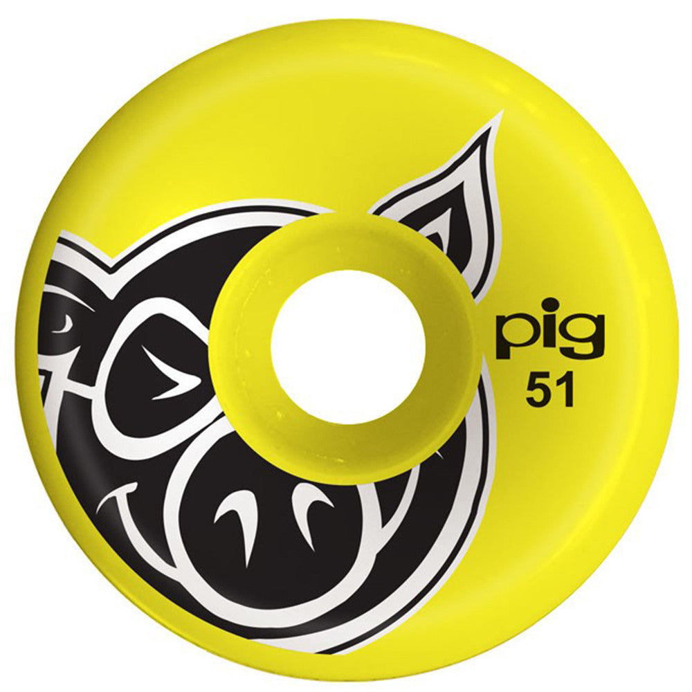Pig Head C-Line - Yellow - 51mm - Skateboard Wheels (Set of 4)
