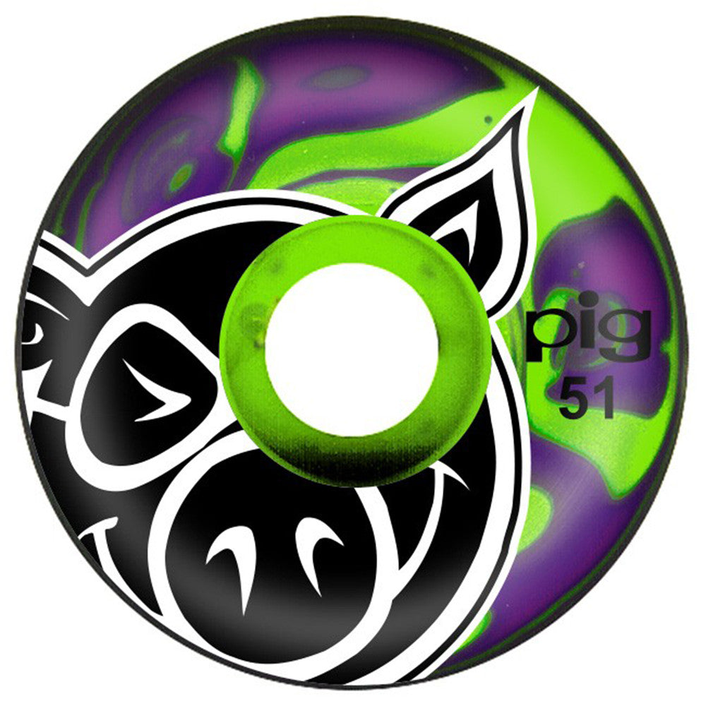 Pig Head Swirls - Purple/Green - 51mm - Skateboard Wheels (Set of 4)