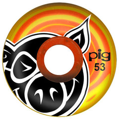 Pig Head Swirls - Orange/Yellow - 53mm 101a - Skateboard Wheels (Set of 4)