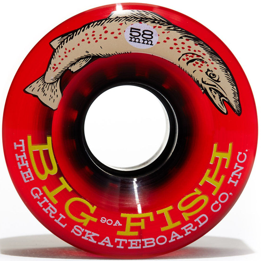 Girl Big Fish Cruiser - Clear Red - 58mm - Skateboard Wheels (Set of 4)