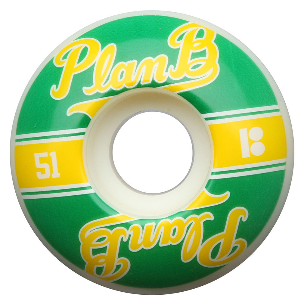Plan B Past Time PP - Green/Yellow - 51mm - Skateboard Wheels (Set of 4)