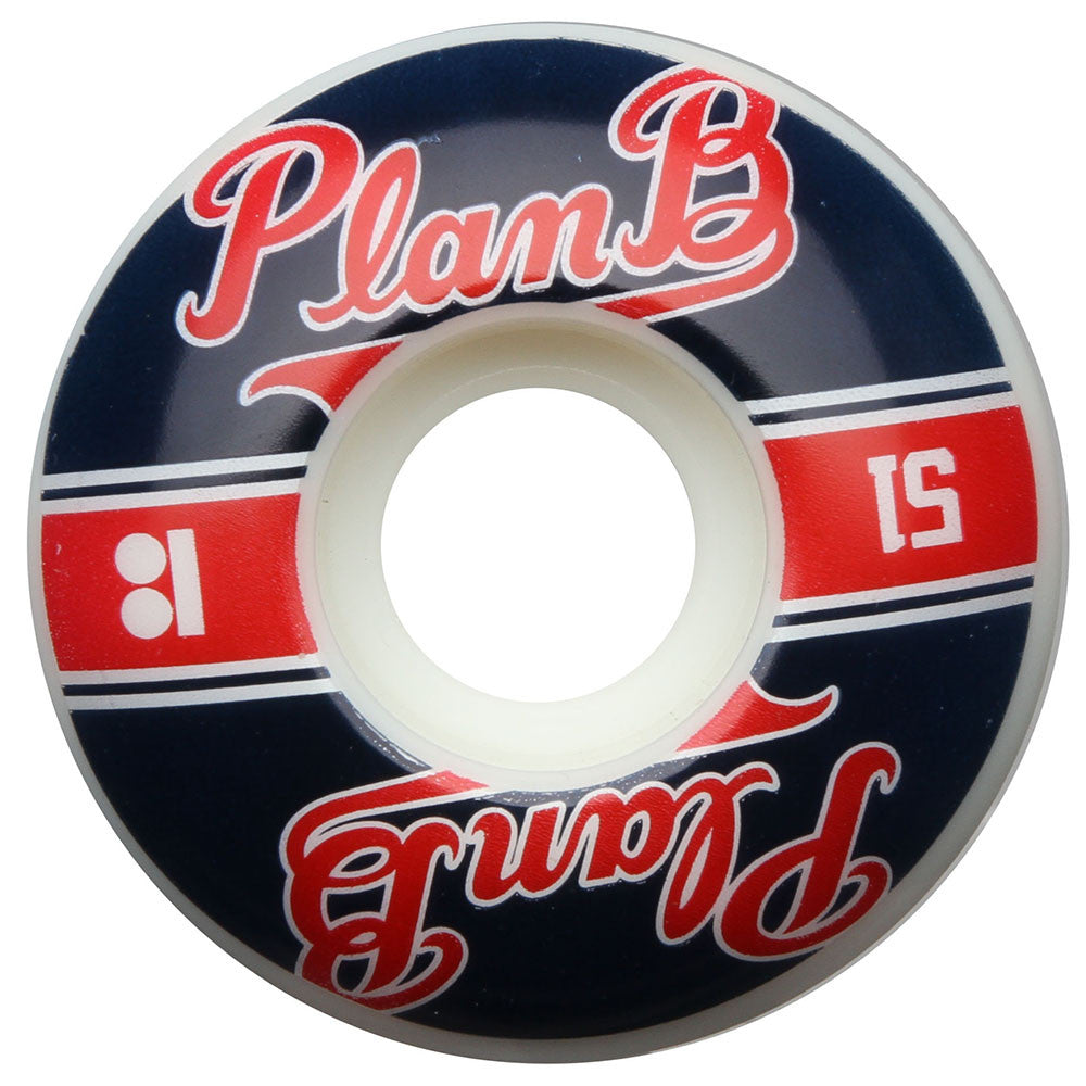 Plan B Past Time PP - Red/Blue - 51mm - Skateboard Wheels (Set of 4)