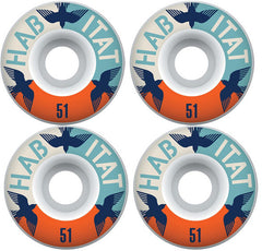 Habitat Avian Eclipse - White - 51mm - Skateboard Wheels (Set of 4)
