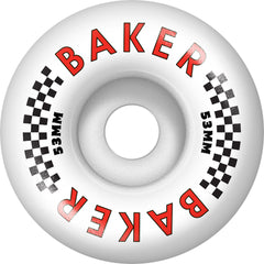 Baker Flag - White - 53mm - Skateboard Wheels (Set of 4)