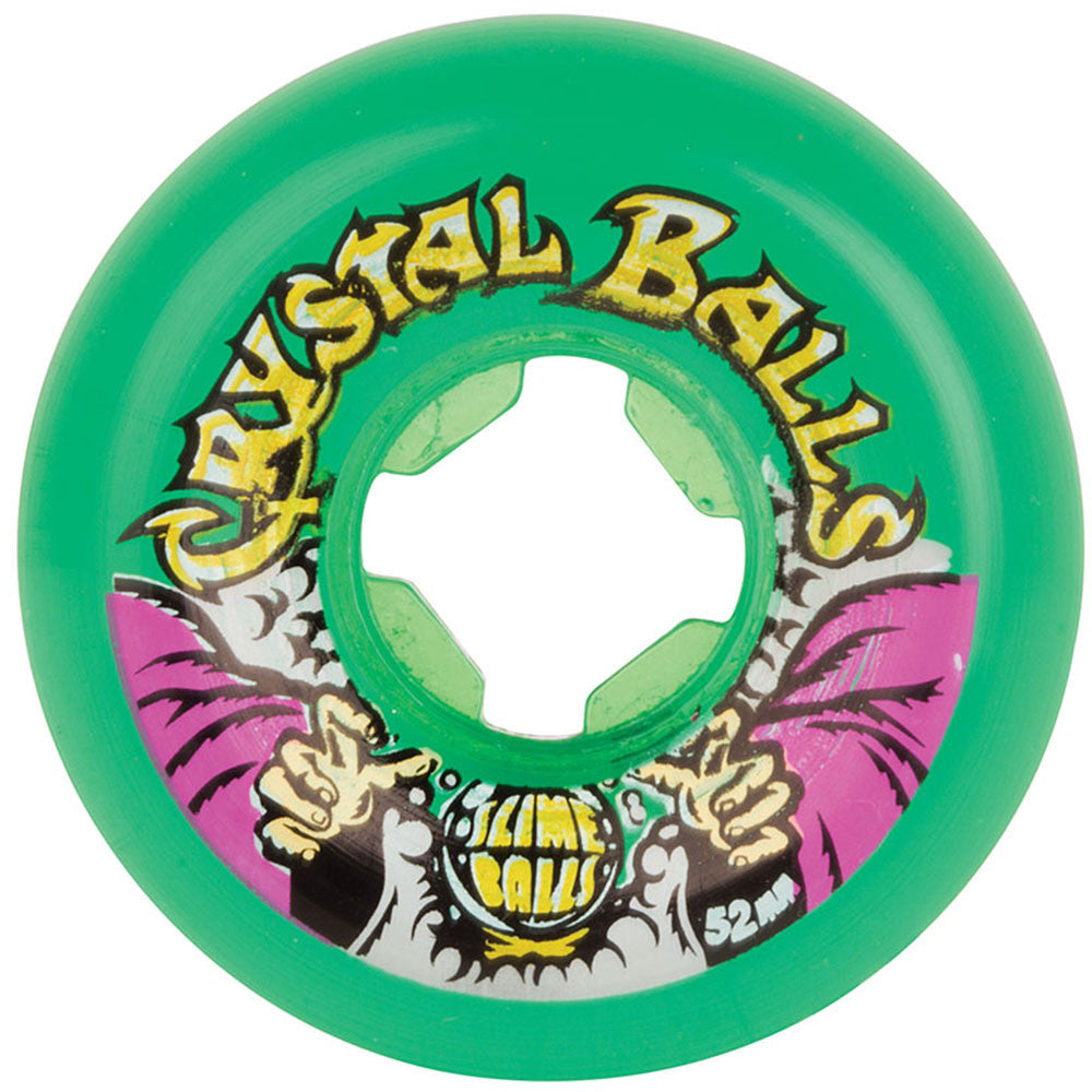 Santa Cruz Slime Balls Crystal Balls - Translucent Green - 52mm 81b - Skateboard Wheels (Set of 4)