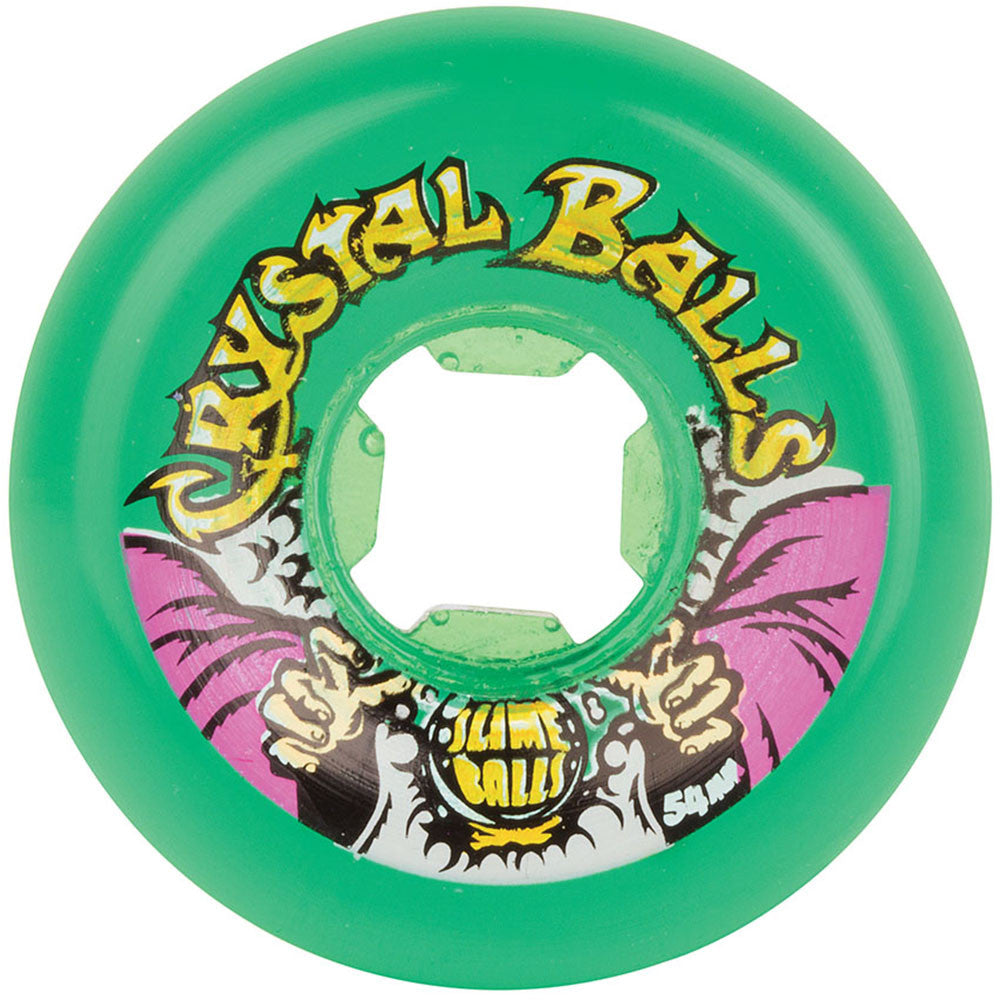 Santa Cruz Slime Balls Crystal Balls - Translucent Green - 54mm 81b - Skateboard Wheels (Set of 4)