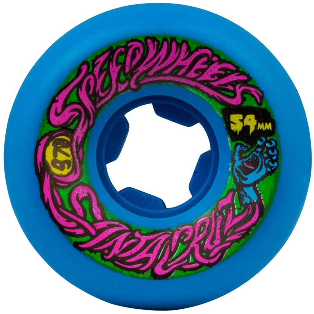 Santa Cruz Slime Balls Speed - Blue - 54mm 97a - Skateboard Wheels (Set of 4)