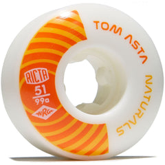 Ricta Asta Pro Naturals - White/Orange - 51mm 99a - Skateboard Wheels (Set of 4)