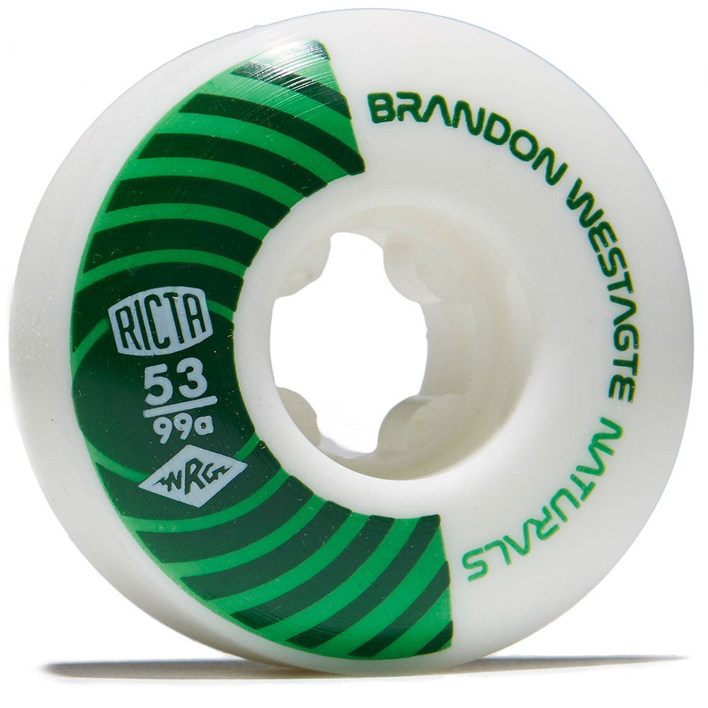 Ricta Westgate Pro Naturals - White/Green - 53mm 99a - Skateboard Wheels (Set of 4)