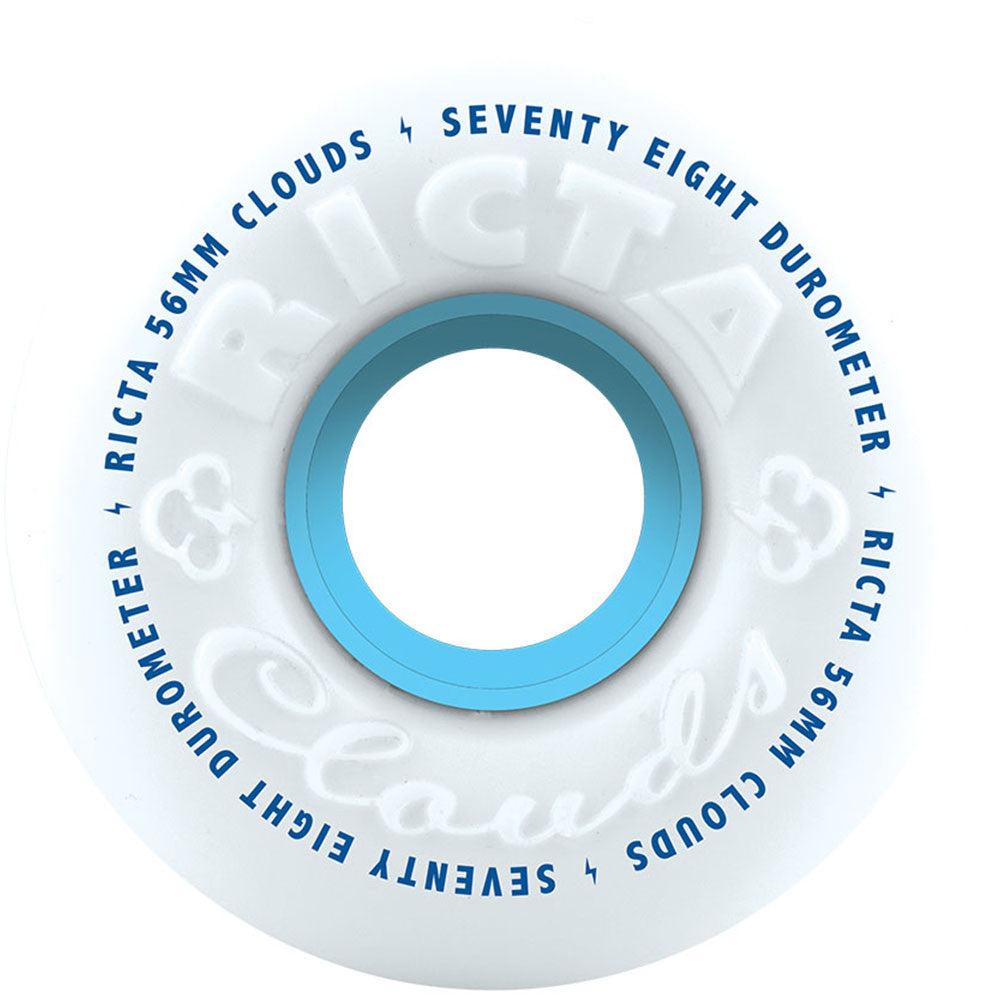 Ricta CLOUDS - White/Blue - 56mm 78a - Skateboard Wheels (Set of 4)