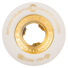 Ricta Huston Chrome Core - White/Gold - 53mm 99a - Skateboard Wheels (Set of 4)
