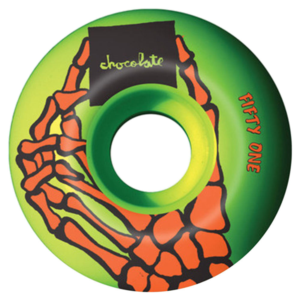Chocolate Skeleton Hand - Green - 51mm - Skateboard Wheels (Set of 4)