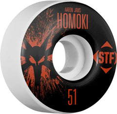 Bones STF V1 Pro Homoki Team Splat - White - 51mm 83b - Skateboard Wheels (Set of 4)