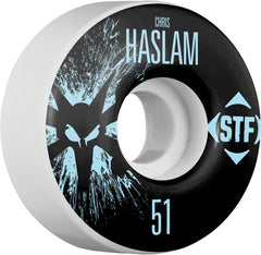 Bones STF V1 Pro Haslam Team Splat - White - 51mm 83b - Skateboard Wheels (Set of 4)
