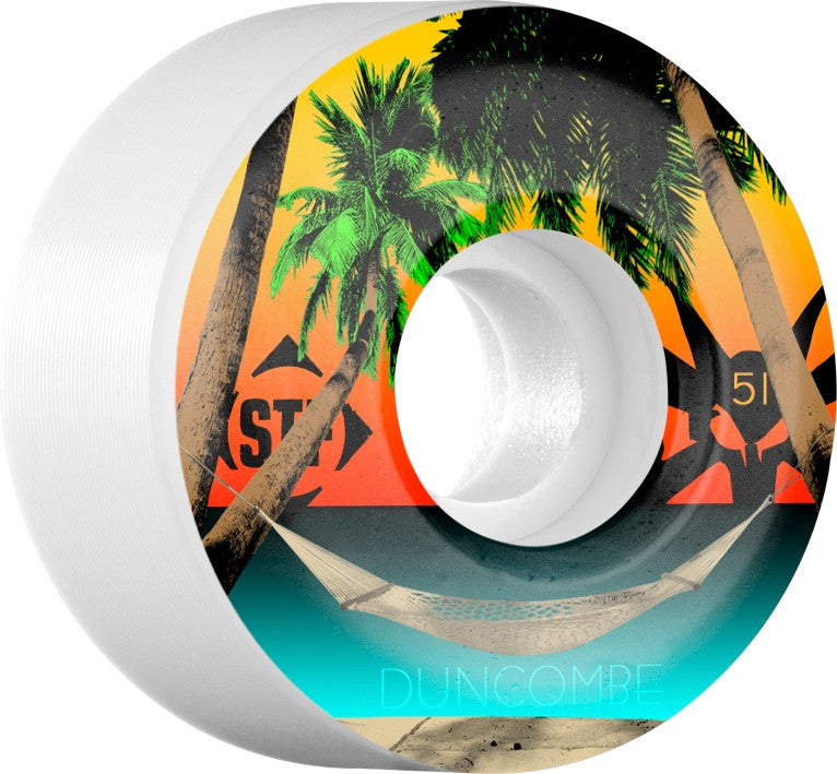 Bones STF V2 Pro Duncombe Vacation - White - 51mm 83b - Skateboard Wheels (Set of 4)