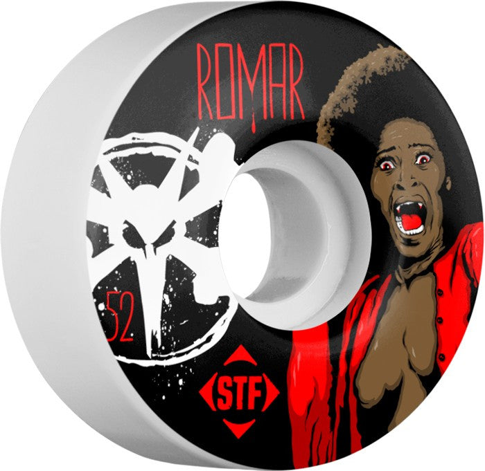 Bones STF V3 Pro Romar Blood - White - 52mm 83b - Skateboard Wheels (Set of 4)