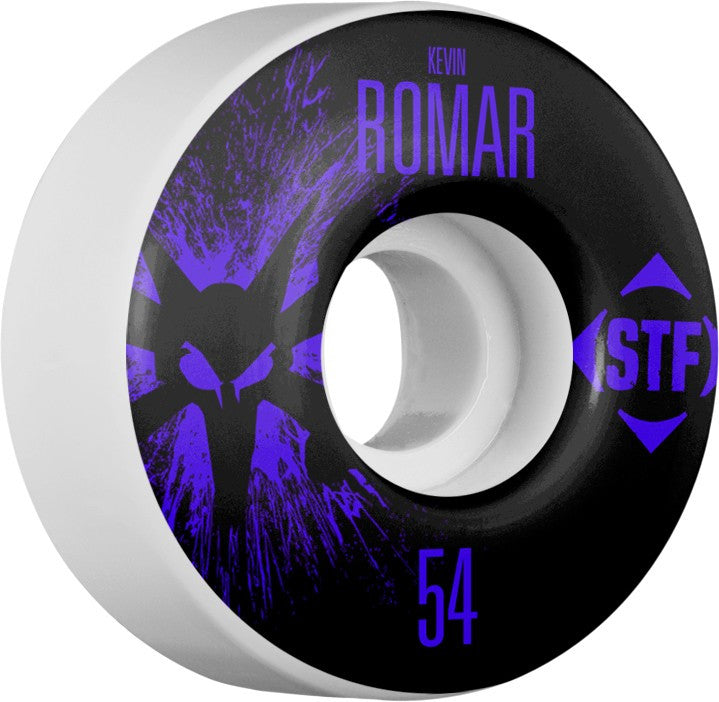 Bones STF V3 Pro Romar Team Splat - White - 54mm 83b - Skateboard Wheels (Set of 4)