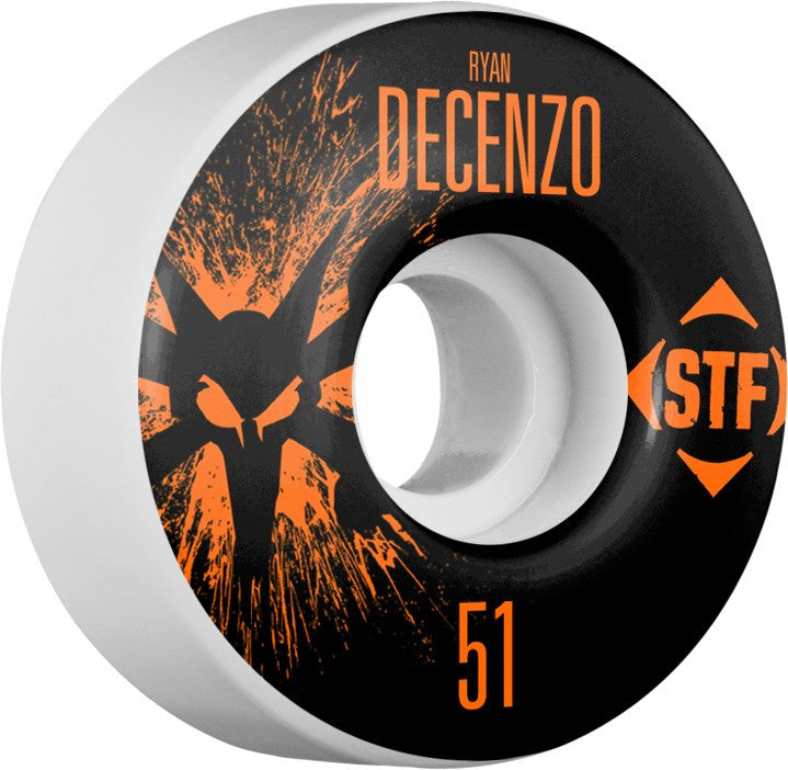 Bones STF V2 Pro Decenzo Team Splat - White - 51mm 83b - Skateboard Wheels (Set of 4)