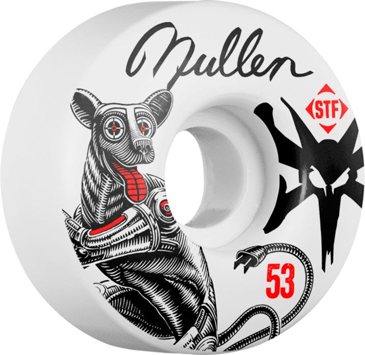 Bones STF V1 Pro Mullen Mutt - White - 53mm 83b - Skateboard Wheels (Set of 4)