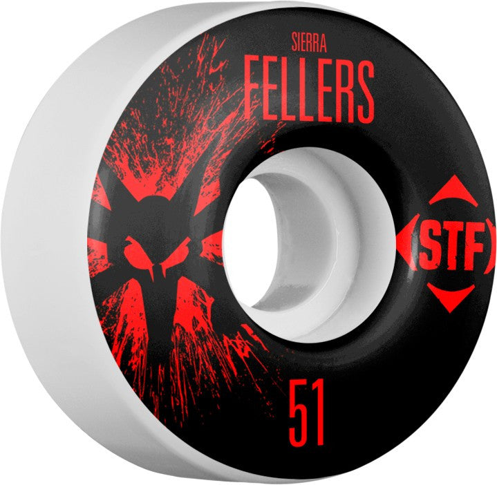 Bones STF V2 Pro Fellers Team Splat - White - 51mm 83b - Skateboard Wheels (Set of 4)