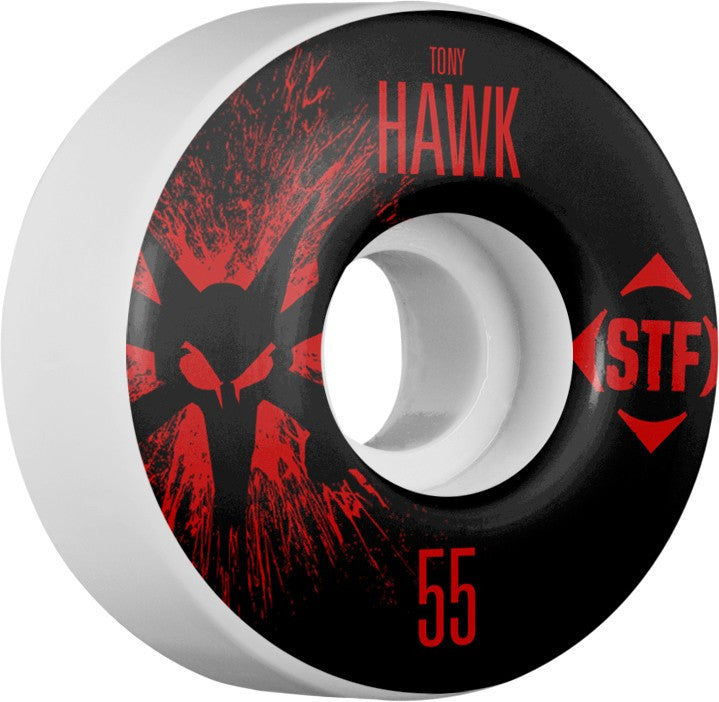 Bones STF V4 Pro Hawk Team Splat - White - 55mm 83b - Skateboard Wheels (Set of 4)
