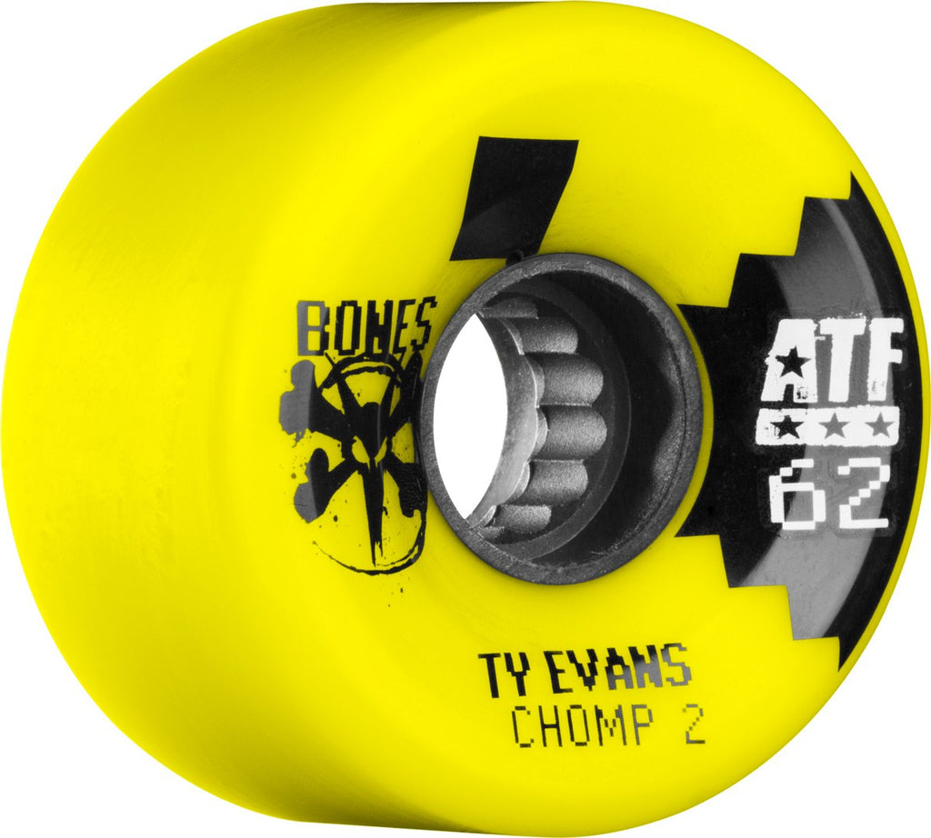 Bones ATF Filmer Evans Chomped II - Yellow - 62mm 80a - Skateboard Wheels (Set of 4)