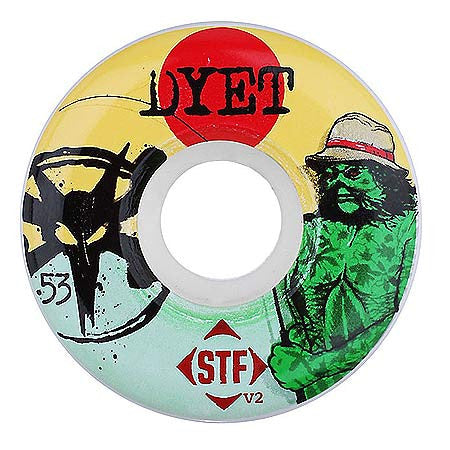 Bones STF V2 Dyet Swamp Thing - White - 53mm - Skateboard Wheels (Set of 4)