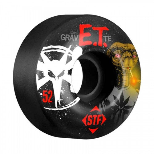 Bones STF V3 Gravette Burn ET - Black - 52mm - Skateboard Wheels (Set of 4)