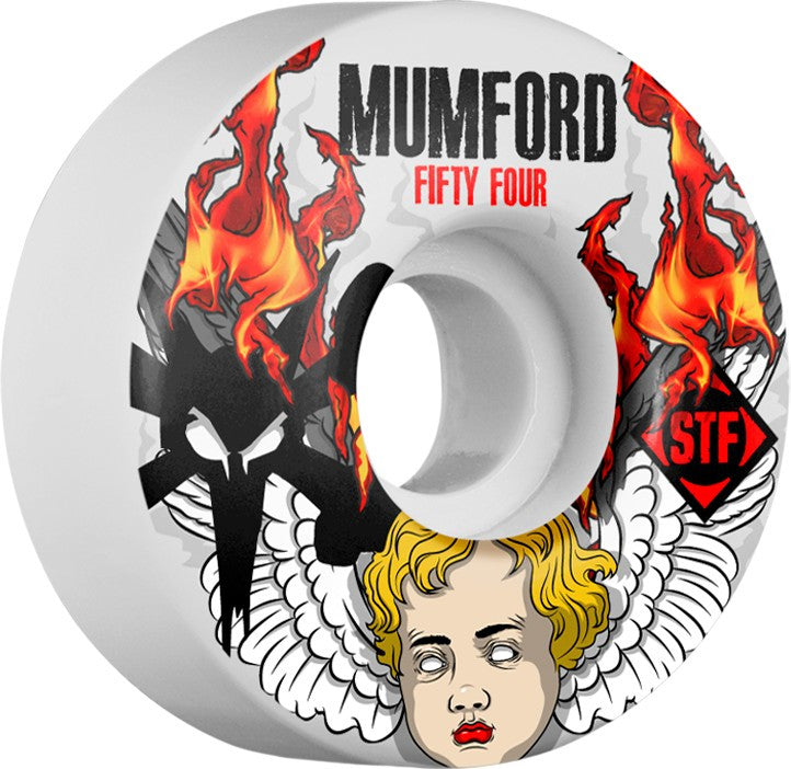 Bones STF V1 Mumford Angel - White - 54mm - Skateboard Wheels (Set of 4)