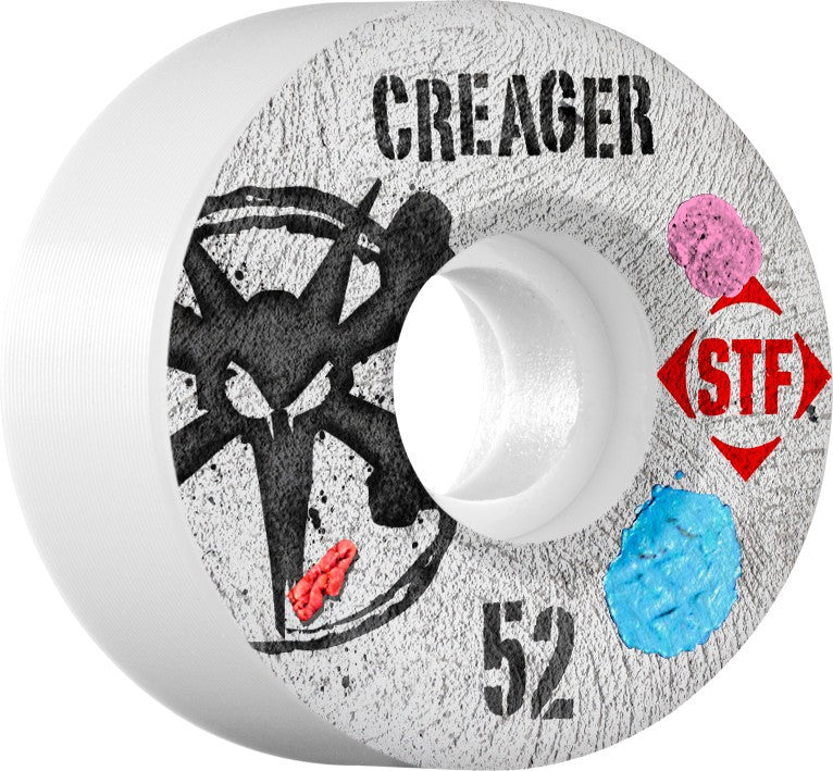 Bones STF V3 Creager Bubblegum - White - 52mm - Skateboard Wheels (Set of 4)