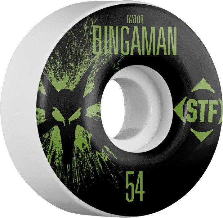 Bones STF V1 Bingaman Splat - White - 54mm - Skateboard Wheels (Set of 4)