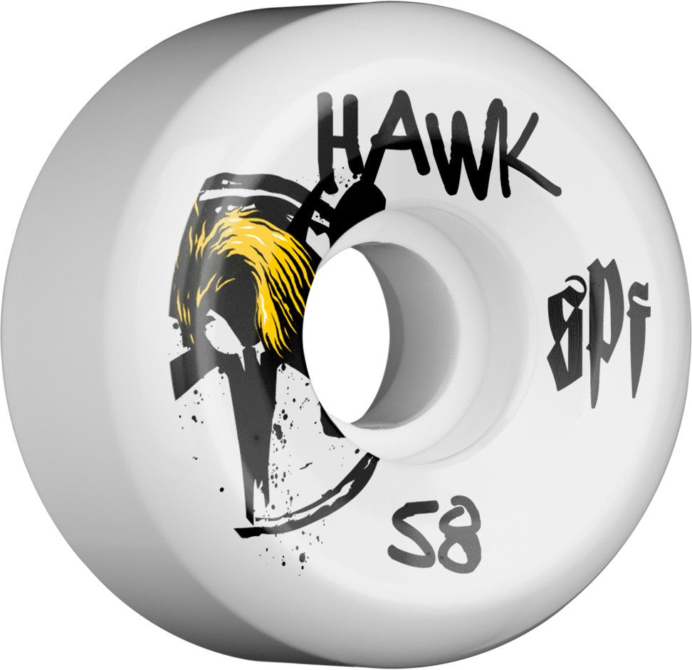 Bones SPF Hawk McSqueeb - White - 58mm - Skateboard Wheels (Set of 4)