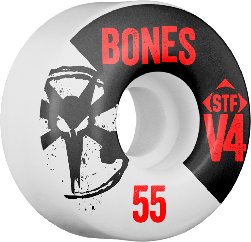 Bones STF V4 Series Side Cut - White - 55mm 83b - Skateboard Wheels (Set of 4)