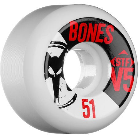 Bones STF V5 Series - White - 51mm 83b - Skateboard Wheels (Set of 4)