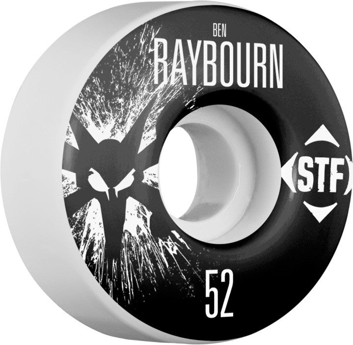 Bones STF V3 Raybourn Splat - White - 52mm 83b - Skateboard Wheels (Set of 4)