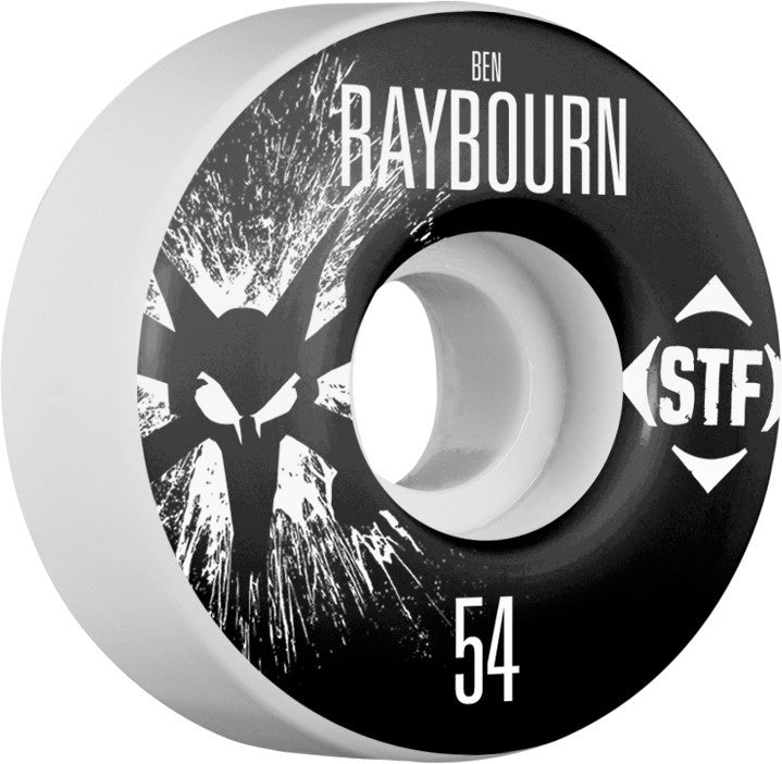 Bones STF V3 Raybourn Splat - White - 54mm 83b - Skateboard Wheels (Set of 4)