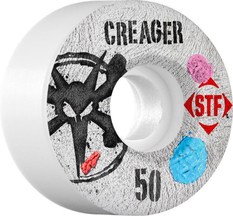 Bones STF V3 Creager Bubblegum - White - 50mm 83b - Skateboard Wheels (Set of 4)