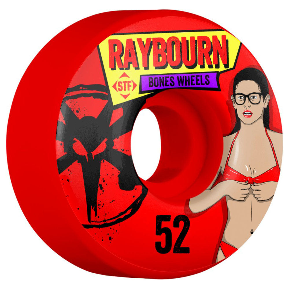 Bones STF Pro Raybourn Phoebe V1 - Red - 52mm - Skateboard Wheels (Set of 4)