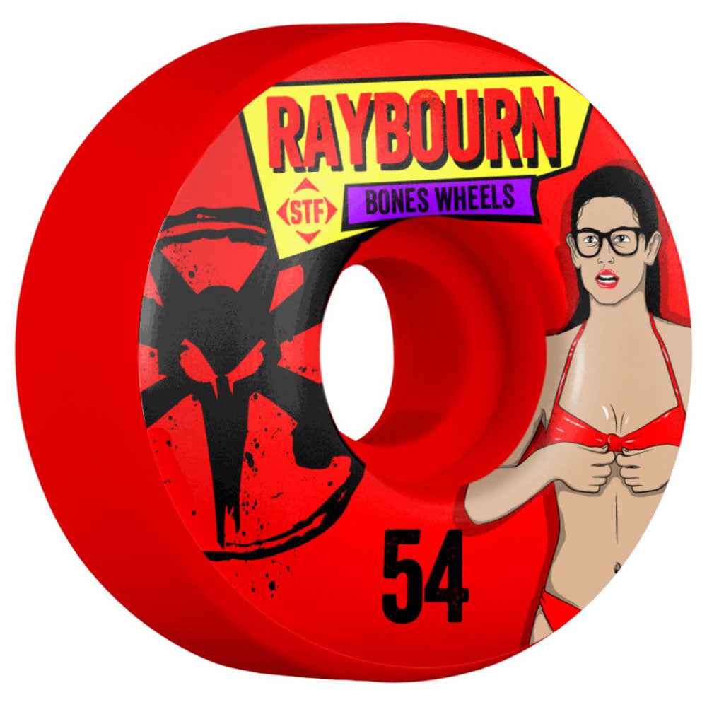 Bones STF Pro Raybourn Phoebe V1 - Red - 54mm - Skateboard Wheels (Set of 4)