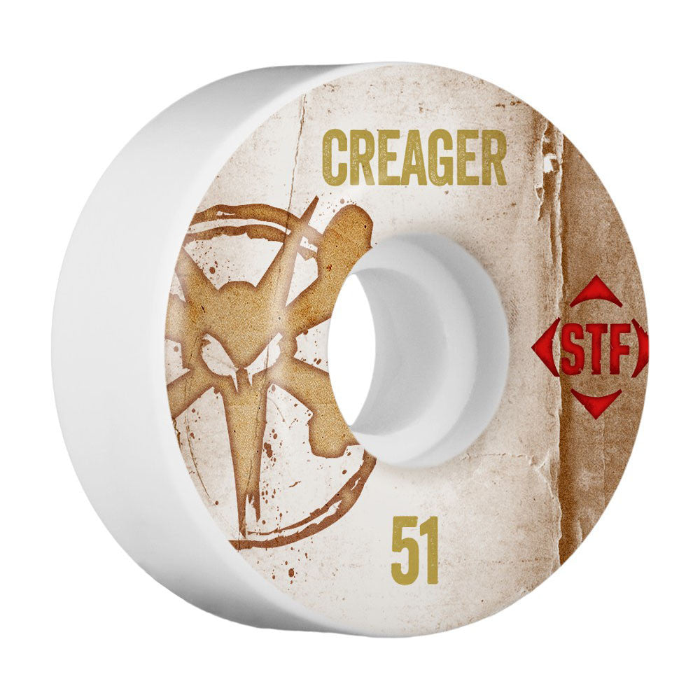 Bones STF Pro Creager Vintage V1 - White - 51mm - Skateboard Wheels (Set of 4)