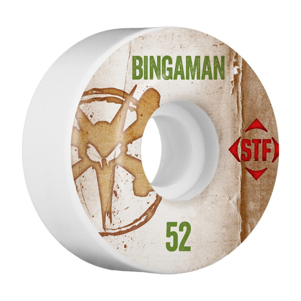 Bones STF Pro Bingaman Vintage V1 - White - 52mm - Skateboard Wheels (Set of 4)